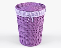 Wicker Laundry Basket 03 Purple Color 3D Model