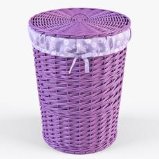 Wicker Laundry Basket 03 Purple Color 3D Model