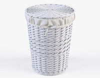 Wicker Laundry Basket 03 White Color 3D Model