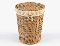 Wicker Laundry Basket 03 Natural Color 3D Model