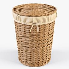 Wicker Laundry Basket 03 Natural Color 3D Model