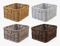 Wicker Basket Ikea Byholma 1 Set 4 Color 3D Model