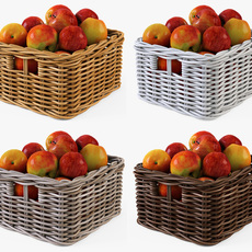 Wicker Apple Basket Ikea Byholma 1 Set 4 Color 3D Model