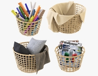 Wicker Basket Ikea Gaddis Set 3D Model