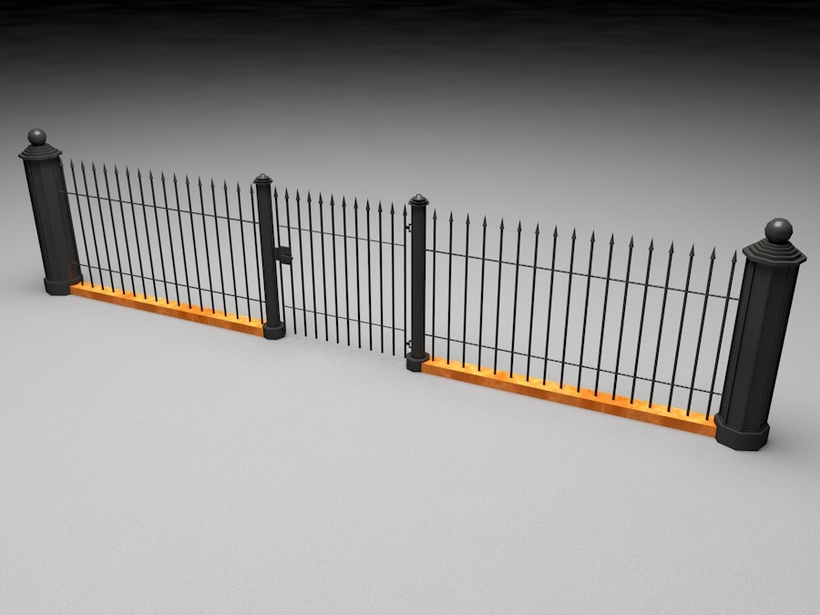 Elegant Historical Fence Low Poly Game Model 3D Model