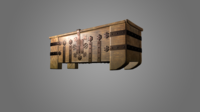 Medieval wooden chest bolted metal strips 3D Model