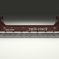 Brown Train Well Car 3D Model