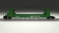 Green Train Well Car 3D Model