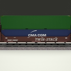 Brown Train Well Car w Containers 3D Model