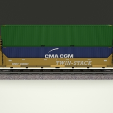 Yellow Train Well Car w Containers 3D Model