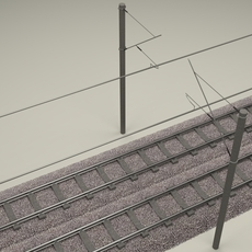 Train Track Double Electrified 3D Model