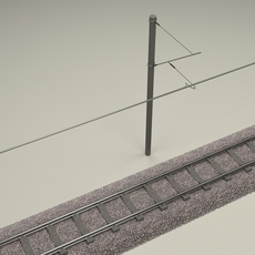 Train Track Electrified 3D Model