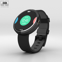 Motorola Moto 360 Dark Metal Case Black Leather Band 3D Model