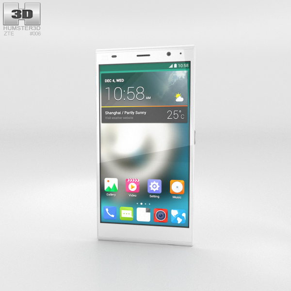 ZTE Grand Memo II LTE White 3D Model