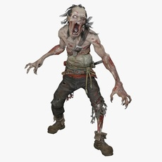 Zombie Warrior Animated 3D Model
