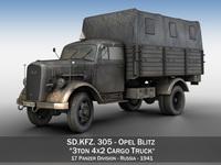 Opel Blitz - 3t Cargo truck - 17 PzDiv 3D Model