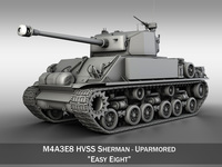 M4A3E8 HVSS Sherman - Uparmored 3D Model