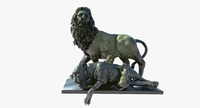 Statue of Lion Family 3D Model