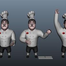 Chef cartoon 5 poses 3D Model