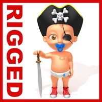 Pirate baby Cartoon Rigged 3D Model
