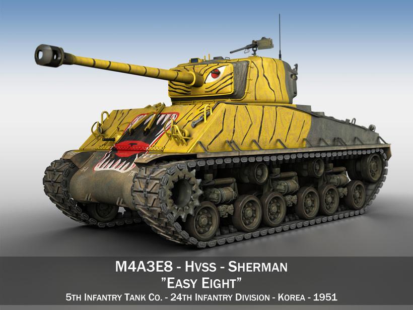 M4A3E8 Sherman - Easy Eight - Korea 3D Model