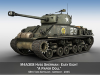 M4A3E8 Sherman - Easy Eight - A Paper Doll 3D Model