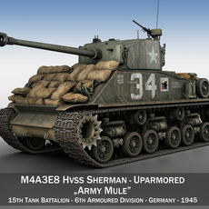 M4A3E8 HVSS Sherman - Army Mule 3D Model
