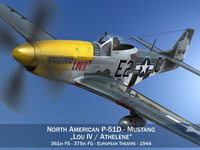 North American P-51D Mustang - Lou IV 3D Model