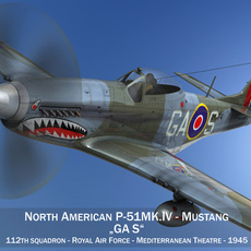 North American P-51K Mustang MK.IV - RAF 3D Model