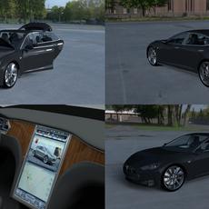 Tesla Model S with interior HDRI 3D Model