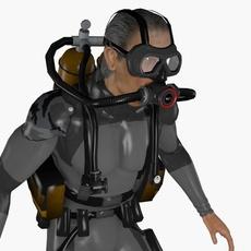 Scuba Diver Animated 3D Model