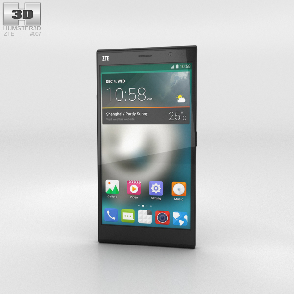 ZTE Grand Memo II LTE Black 3D Model