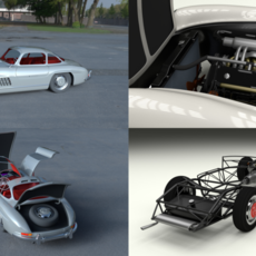 Fully Modelled/Rigged Mercedes 300SL Gullwing HDRI 3D Model