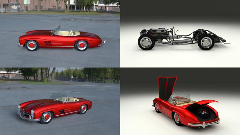 Fully Modelled Mercedes 300SL Roadster Red HDRI 3D Model