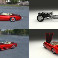 Fully Modelled Mercedes 300SL Roadster Red HDRI 3D Model