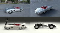 Fully Modelled Mercedes 300SL Roadster Silver HDRI 3D Model
