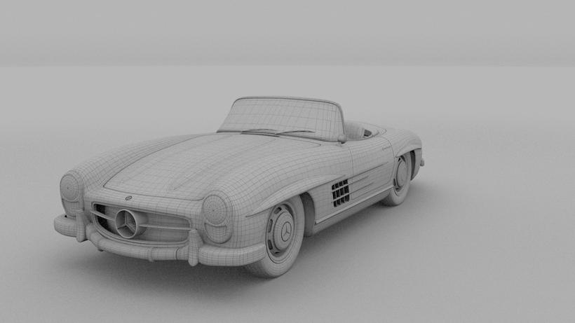 Mercedes 300SL Roadster W198 HDRI 3D Model