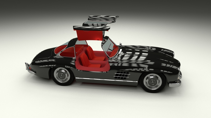 Rigged Mercedes 300SL Gullwing with Interior HDRI 3D Model