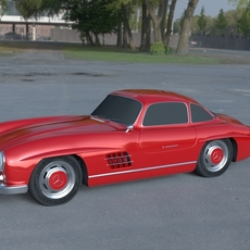 Rigged Mercedes 300SL W198 HDRI 3D Model