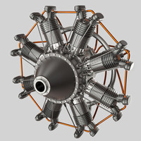 Animated Radial Engine 3D Model