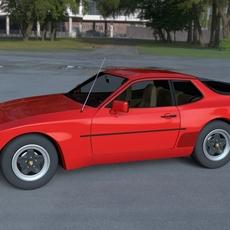 Early Porsche 944 with interior HDRI 3D Model