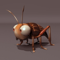 Cartoon Cricket Rig 3D Model