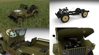 Full (w chassis) Jeep Willys MB Military HDRI 3D Model
