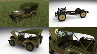 Full (w chassis) Jeep Willys MB Military Top HDRI 3D Model