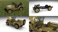 Full (w chassis) Jeep Willys MB Military Desert HDRI 3D Model