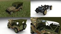 Full (w chassis) Jeep Willys MB Military Camo HDRI 3D Model