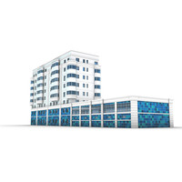 Modern building with swimming pool 3D Model