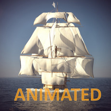 Ship Animated Sail and foam with splashes 3D Model