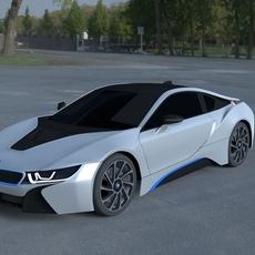 BMW i8 White HDRI 3D Model