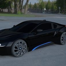 BMW i8 Black HDRI 3D Model